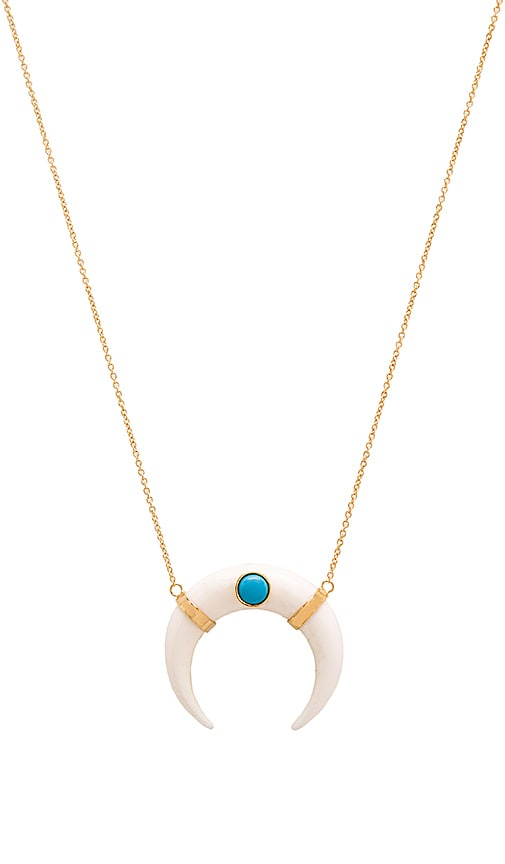 Jacquie Aiche Double Horn Necklace in Metallic Gold