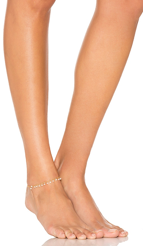 Jacquie Aiche Rondelle Drop Shaker Anklet in Moonstone