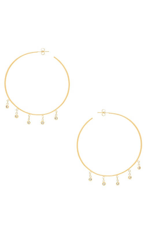 Jacquie Aiche CZ Shaker Hoop Earrings in Metallic Gold