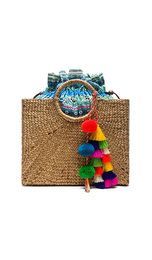 JADETRIBE MULTI TASSEL SQUARE BASKET TOTE