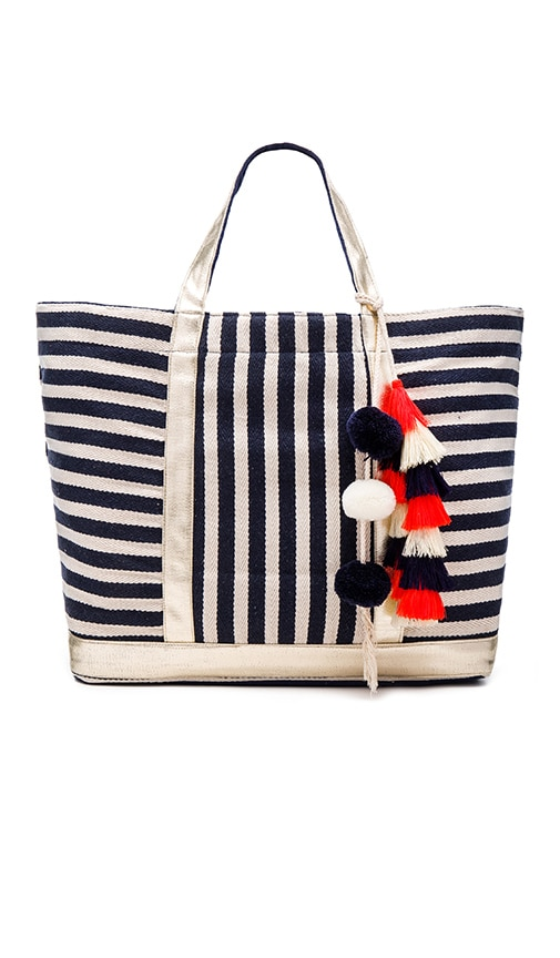 JADEtribe Valerie St. Jean Orange Tassel Tote in Blue