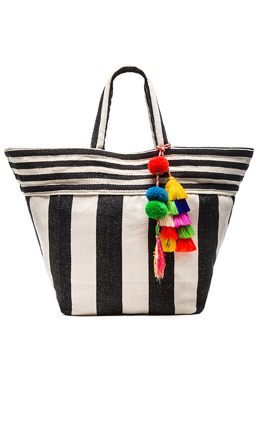 JADEtribe Valerie Multi Tassel Wide Tote in Black