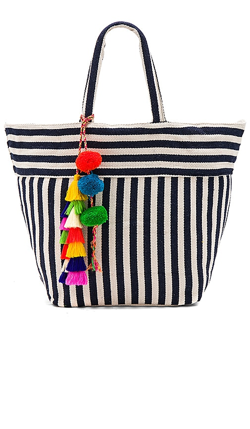 JADEtribe Valerie Multi Tassel Pom Tote Bag in Navy
