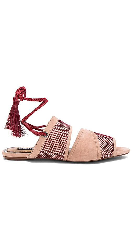 JAGGAR Split Lace Sandal in Burgundy