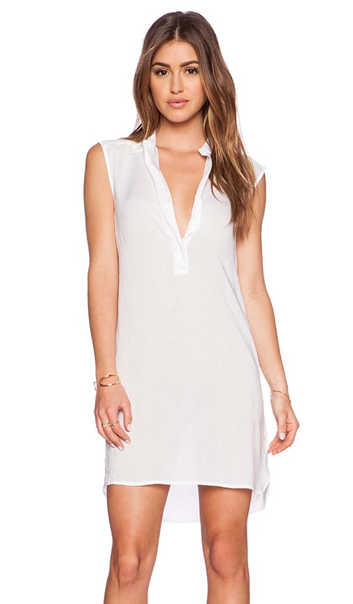 James Perse Sleeveless Henley Dress in White