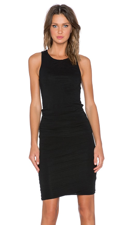 James Perse Ruched Belt Dress in Black