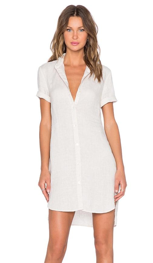James Perse Linen Shirt Dress in Ceramic