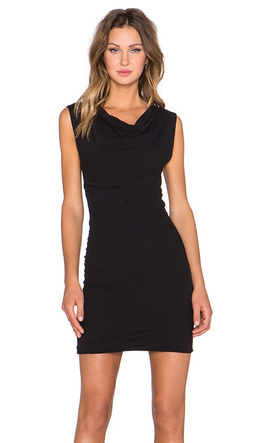 James Perse Drape Front Dress in Black
