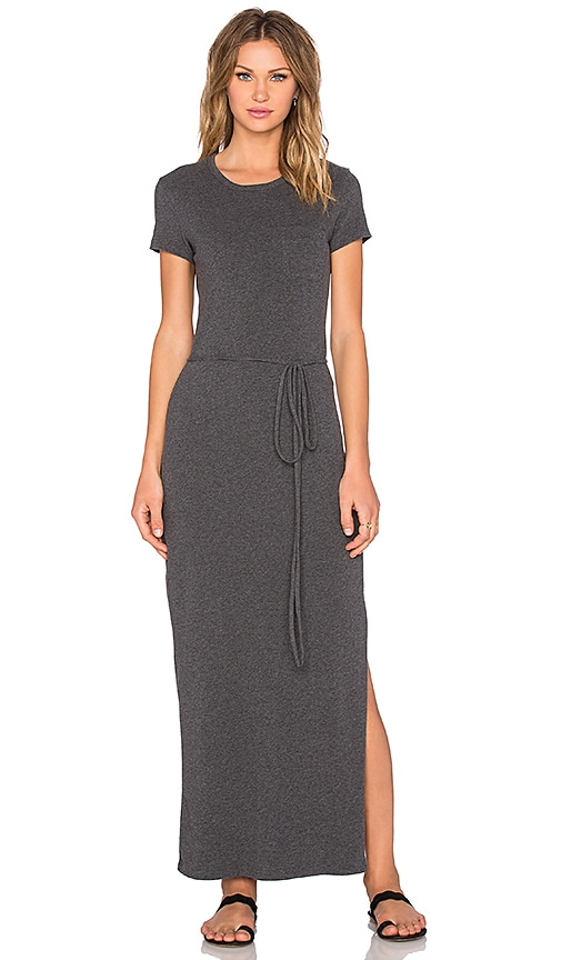 James Perse Long Pocket Tee Dress in Heather Charcoal