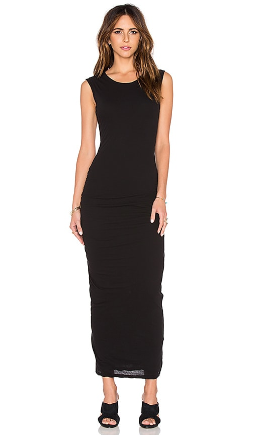 James Perse Shirred Shell Dress in Black