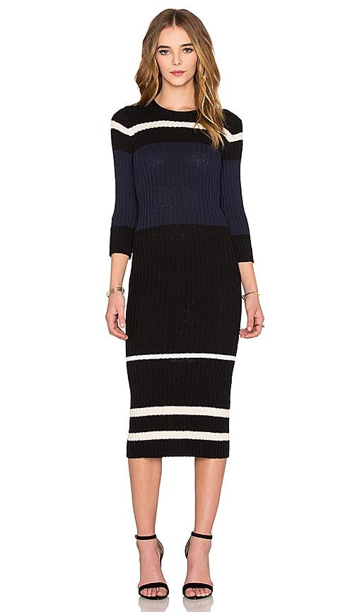 James Perse Cotton Terry Stripe Dress in Black & Cream & Navy & White