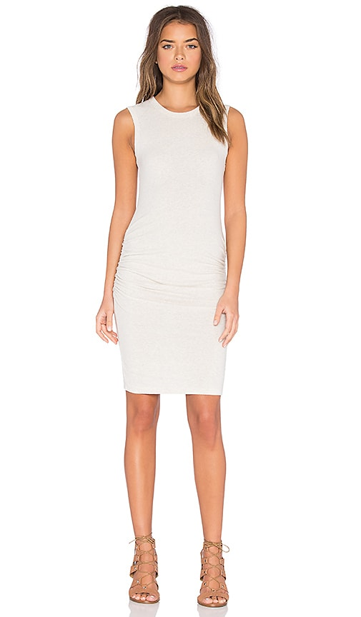 James Perse Skinny Crew Neck Tank Dress in Beige