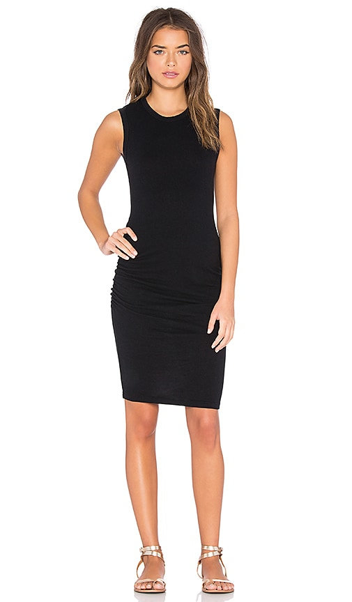 James Perse Skinny Crew Neck Tank Dress in True Black