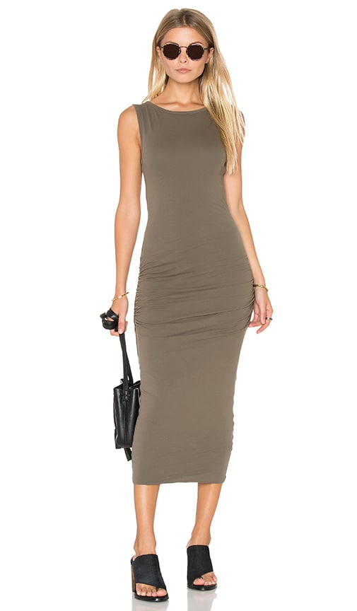 James Perse Open Back Skinny Dress in Green