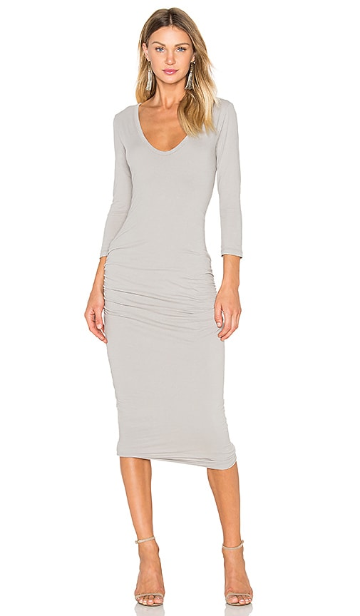 James Perse Classic V-Neck Skinny Dress in Gray