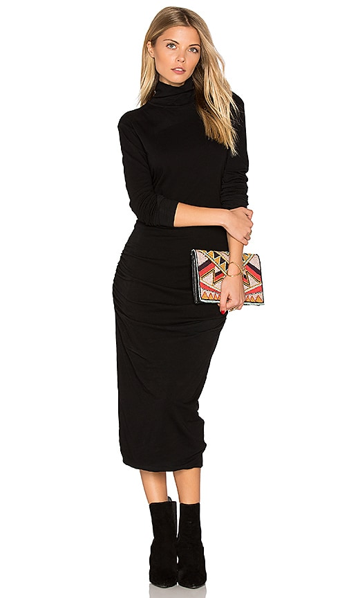 James Perse Turtleneck Midi Dress in Black