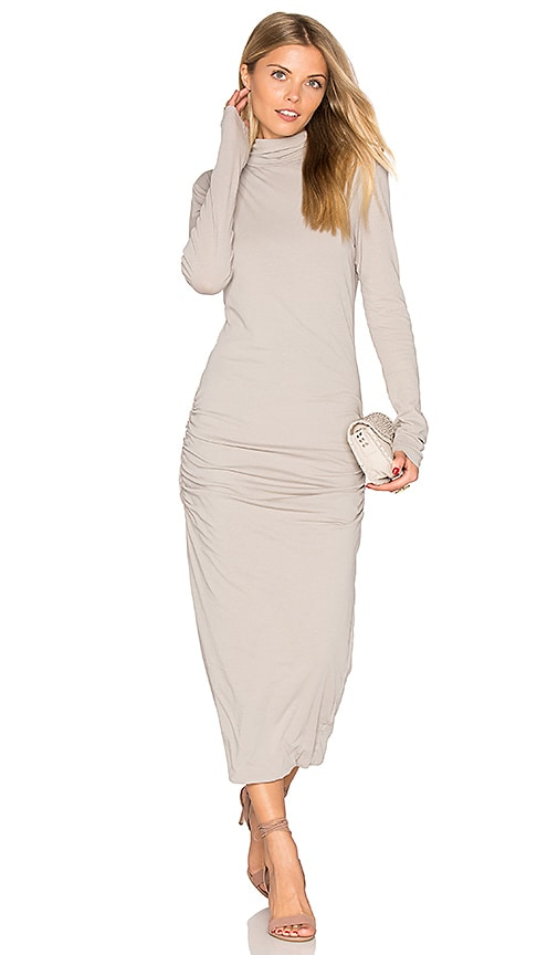 James Perse Turtleneck Midi Dress in Light Gray