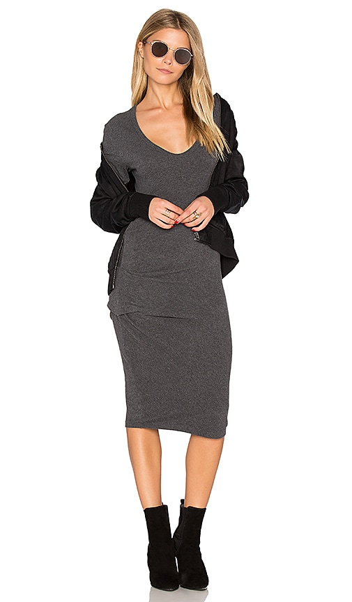 James Perse V Neck Midi Dress in Charcoal