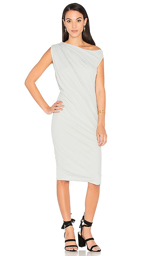 James Perse One Shoulder Draped Dress in Gray