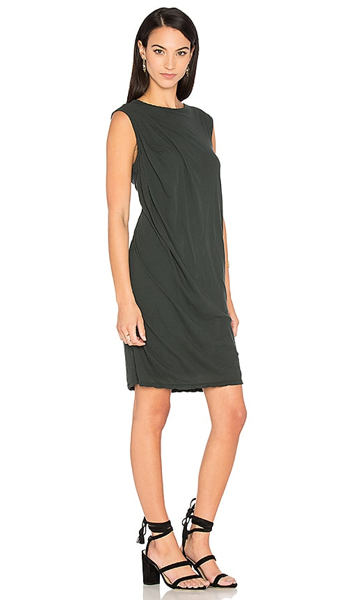 James Perse Tucked Shift Dress in Black
