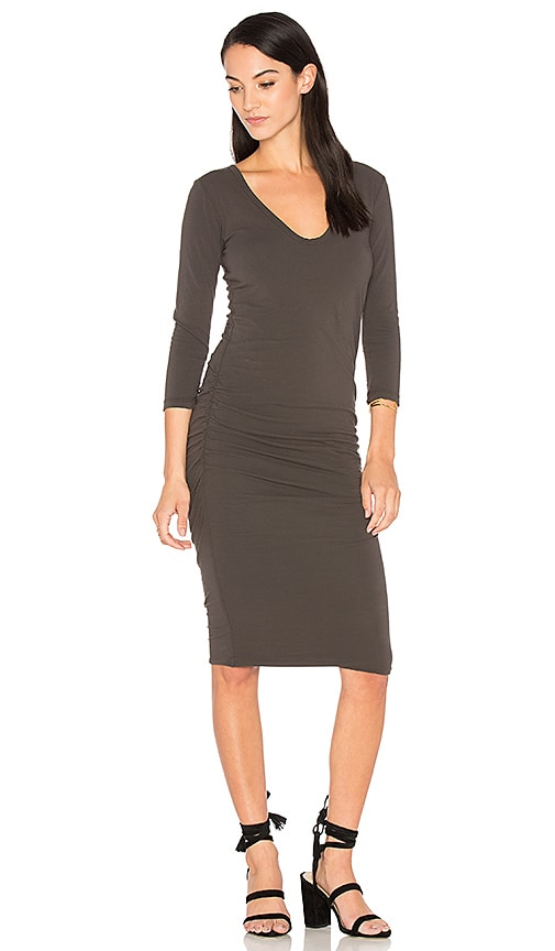 James Perse V Neck Skinny Dress in Charcoal