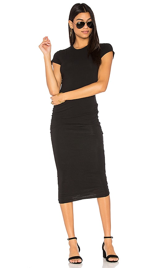 James Perse Classic Skinny Dress in Black & White