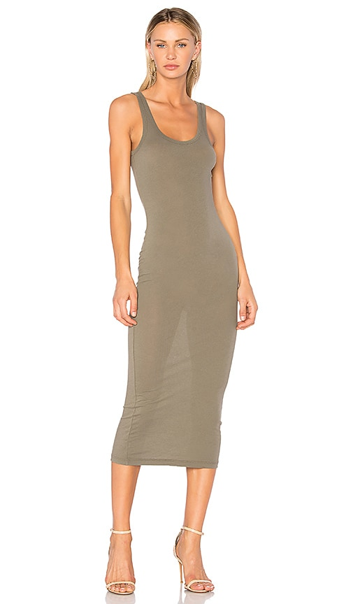 James Perse Long Slip Dress in Green