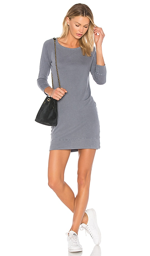 James Perse Raglan Sweatshirt Dress in Gray