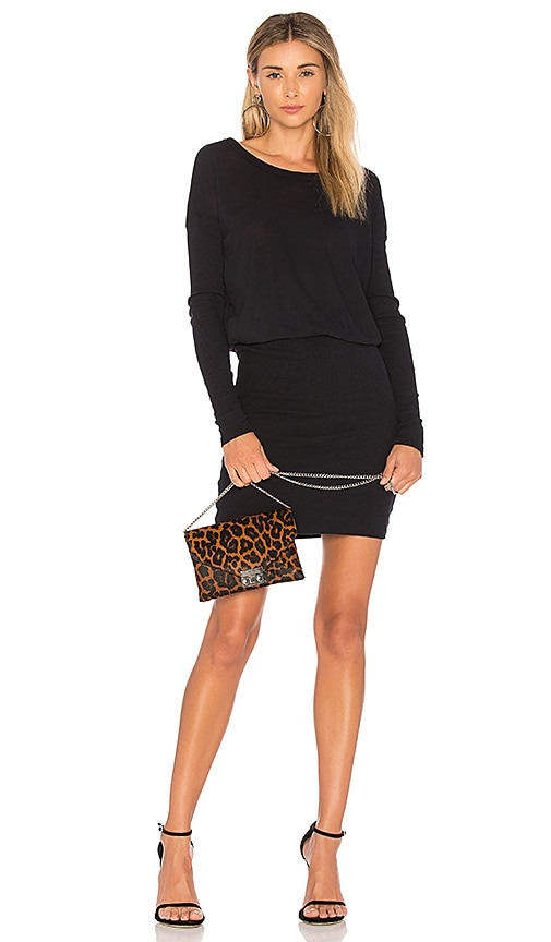James Perse Contrast Rib Pullover Dress in Navy