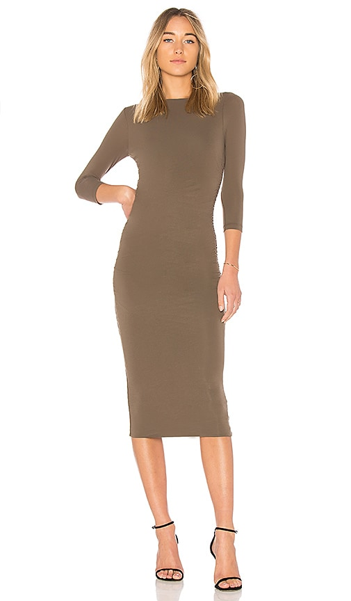 James Perse Double Shirred Boatneck Dress in Green