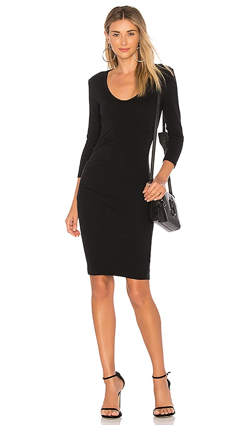 James Perse Skinny Tucked Dress in Black