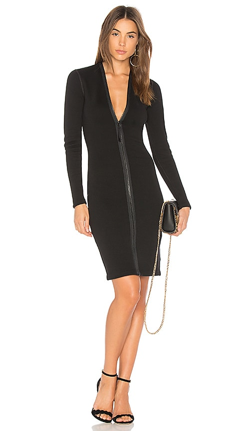 James Perse Scuba Zip Front Dress in Black