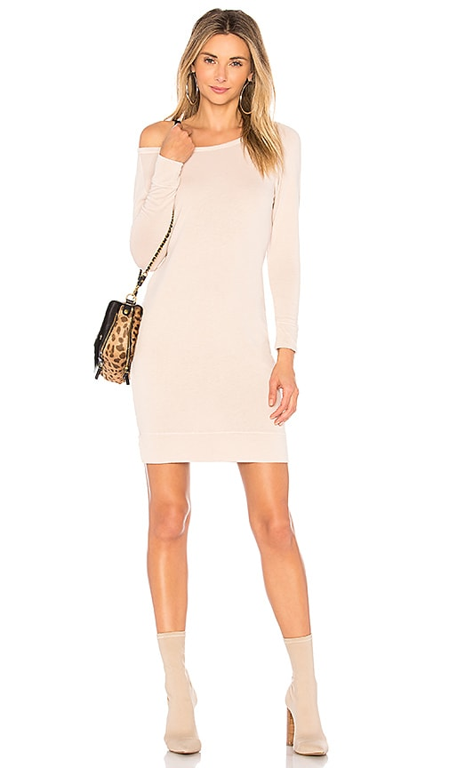 James Perse Raglan Sweatshirt Dress in Beige