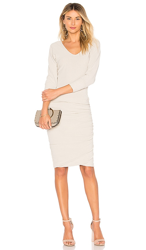 James Perse Deep V Dress in Gray