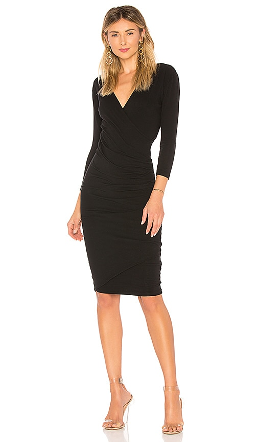 James Perse Skinny Wrap Dress in Black