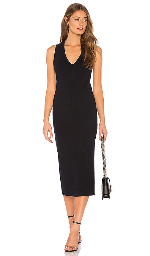 Contrast Binding Fitted Rib Dress