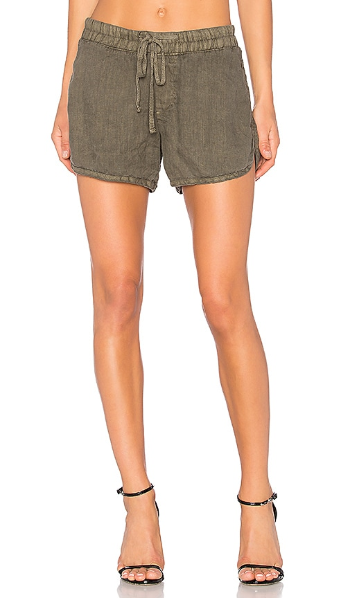 James Perse Drawstring Dolphin Short in Army