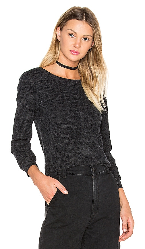 James Perse Thermal Crew Neck Sweater in Anthracite