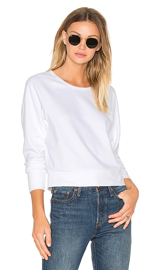 James Perse Fleece Dolman Raglan Pullover in White