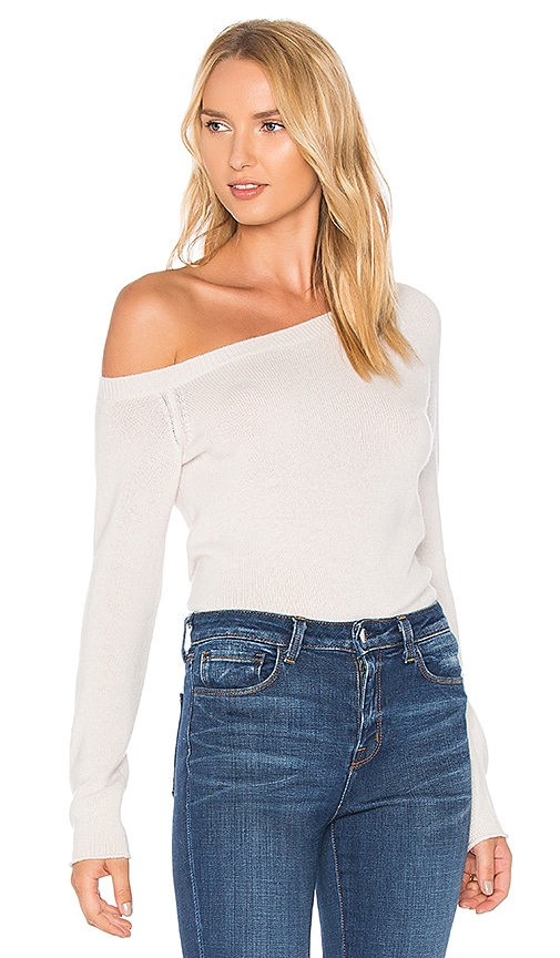James Perse Off the Shoulder Cashmere Sweater in Talc | REVOLVE