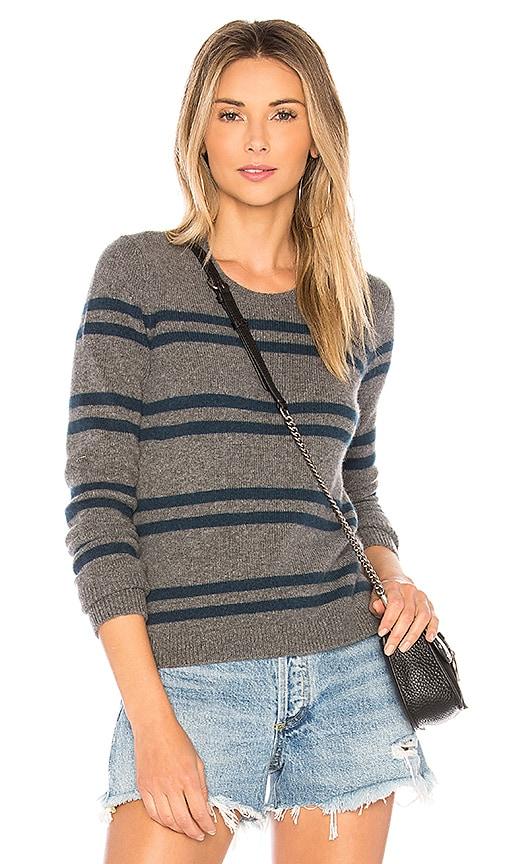 James Perse Cashmere Striped Shrunken Crew Sweater in Gray