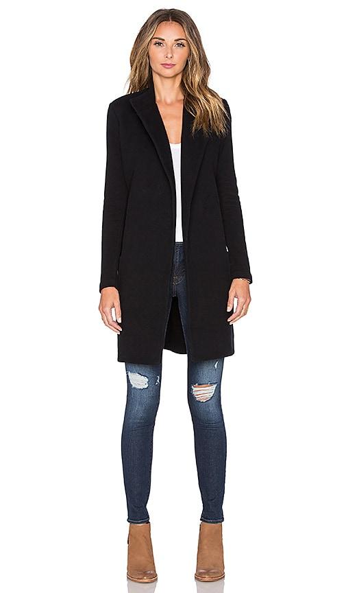 James Perse Brushed Fleece Wrap Coat in Black