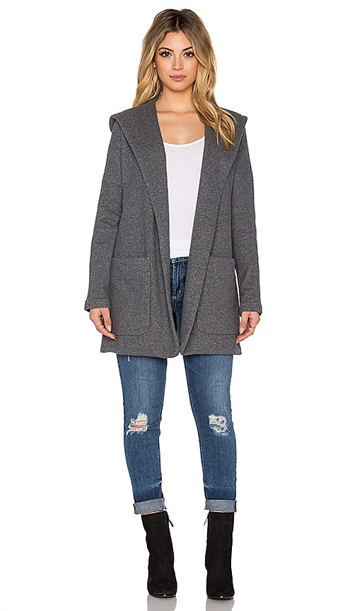 James Perse French Terry Hooded Coat in Heather Charcoal