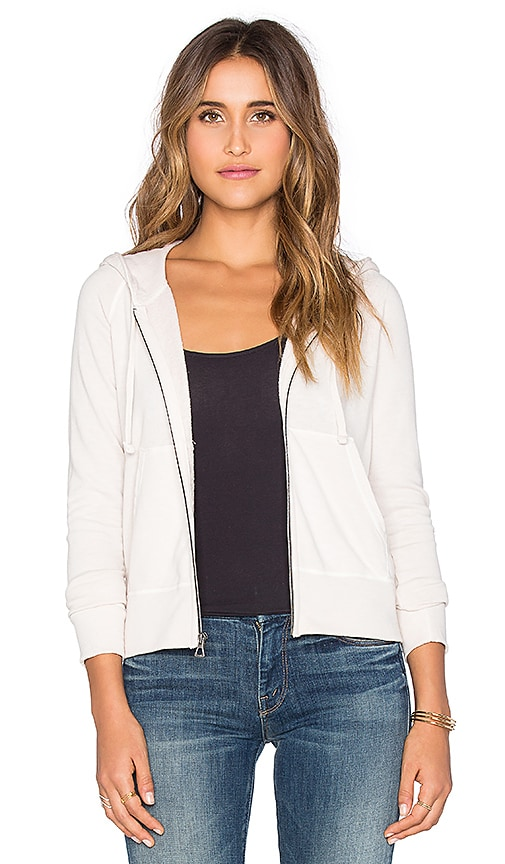 James Perse Classic Zip Up Hoodie in Pink Hue