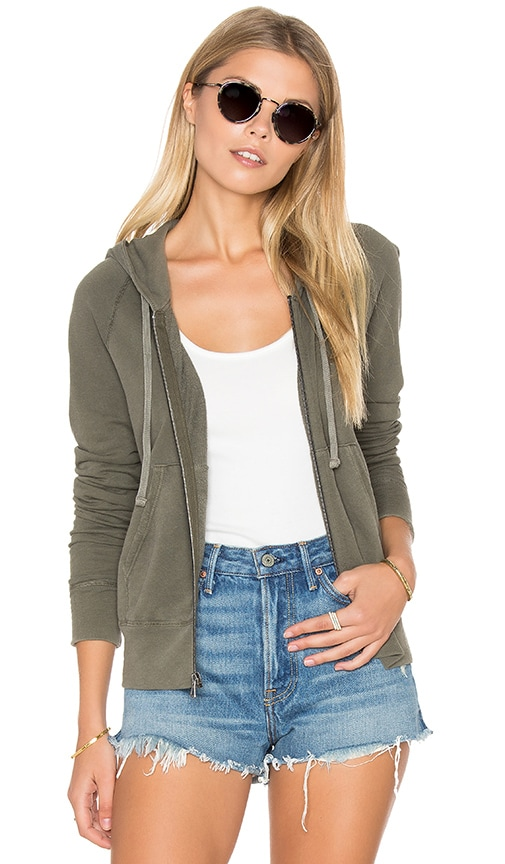 James Perse Classic Long Sleeve Zip Up Hoodie in Platoon