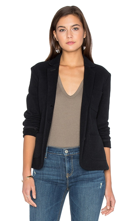 James Perse Cropped French Terry Blazer in Black