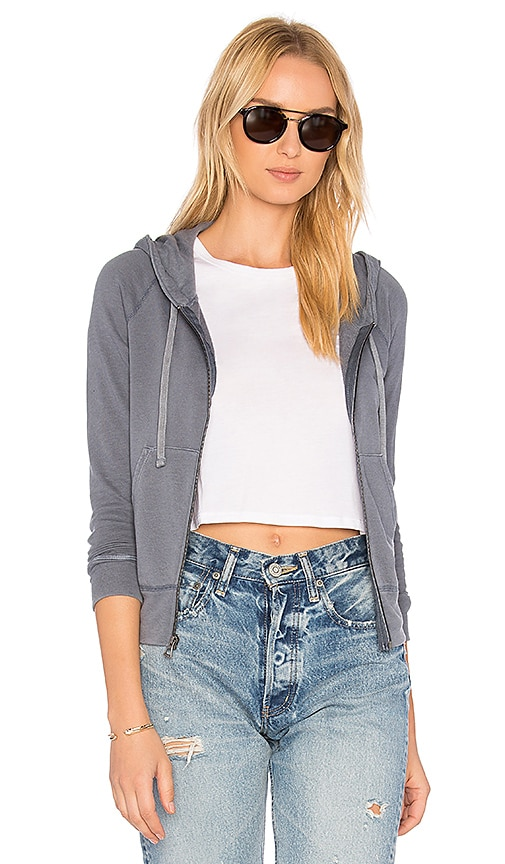 James Perse Classic Zip Up Hoodie in Blue
