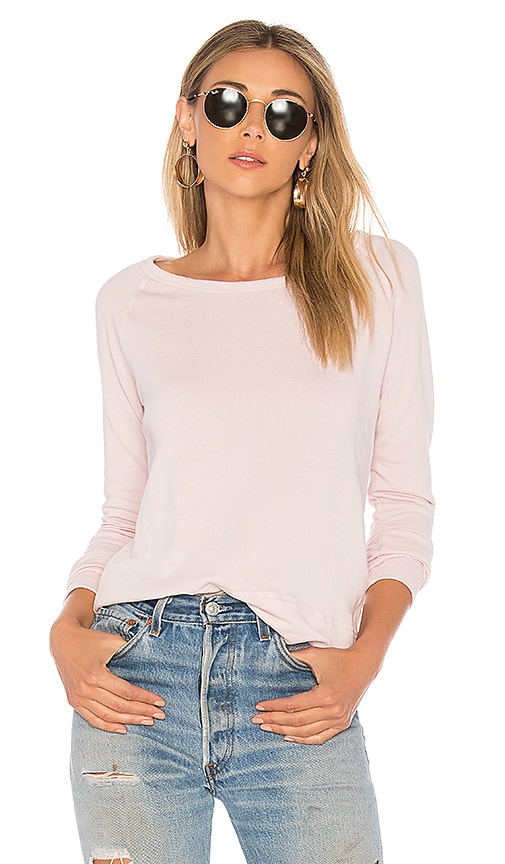 James Perse Classic Raglan Sweatshirt in Pink