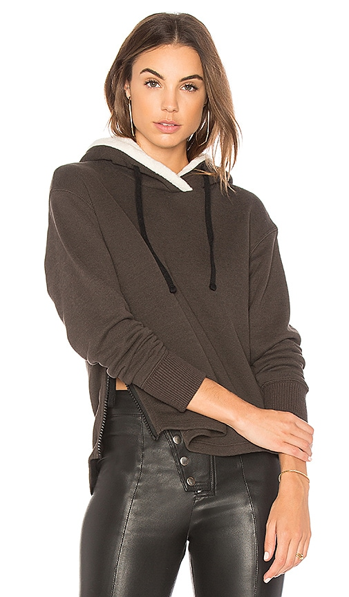 James Perse Sherpa Pullover Hoodie in Gray