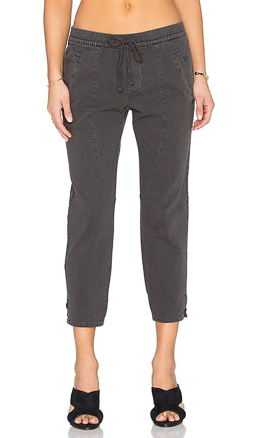 James Perse Cropped Ankle Split Pant in Carbon